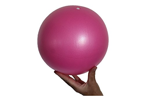 Mini Yoga Ball - Mini Exercise Ball - Flexible, Soft Ball - Thighs and Core Training, Pilates, Barre - Bender, Stability and Balance Exercise - Physical Therapy - 9 Inch with Inflatable Straw (Pink)