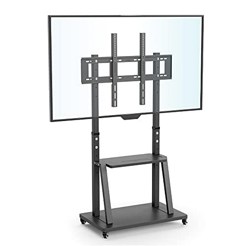 UNHO TV Ständer mit Rollen, TV Standfuss Universal Mobil Wagen, Höhenverstellbar Extra Stabil Fernsehständer Halterung Fernsehtisch mit AV-Ablagen für 32'–100',VESA 800x600mm,bis Max 80kg