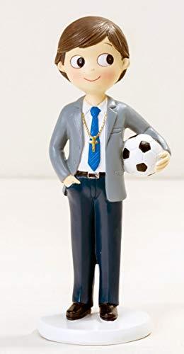 Figura comunión niño tarta GRABADA PERSONALIZADA figuras muñeco pastel fútbol