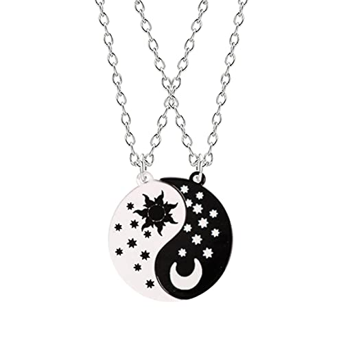 Harajuku 2 Piezas Conjunto Pareja Choker Star Moon Blanco y Negro Colgante Best Friend Necklace Mujeres BFF Joyería de la Amistad Regalo
