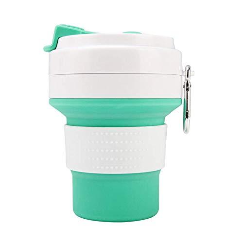 BESTSOON Botella de agua deportiva de 350 ml, plegable, portátil, telescópica, para gimnasio, yoga, correr, (tamaño: 57 x 100 x 168 mm; color: verde)