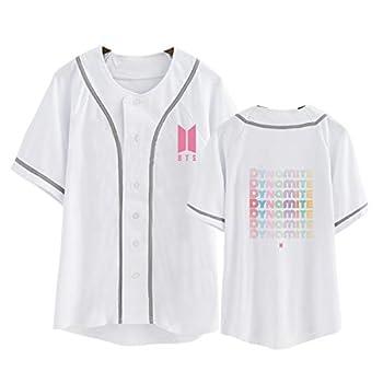 Qaedtls Kpop BTS Dynamite Shirt Baseball Jersey RM Suga V Jungkook Unisex T-Shirt M White B