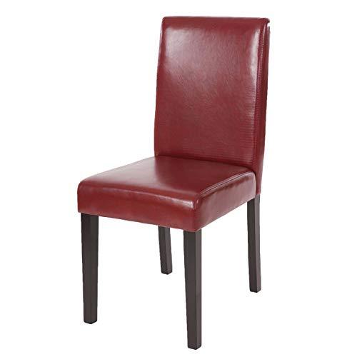 Mendler Esszimmerstuhl Littau, Küchenstuhl Stuhl, Kunstleder - rot-braun, dunkle Beine