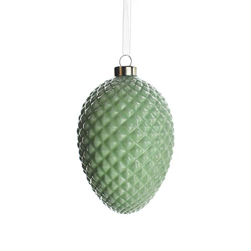 Homeford Studded Pattern Glass Egg Christmas Ornament, 6-Inch