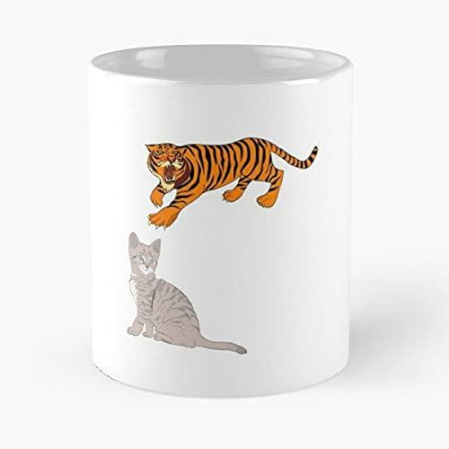 Cat and Tiger Eat Food Bite John Best - Taza de café (cerámica, 15 oz), color blanco