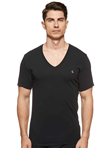Calvin Klein Herren S/s V Neck 2pk Schlafanzugoberteil, Schwarz (BLACK 001), Large
