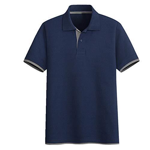 N\P Farbkontrast Doppelmanschette Hemd Herren Kurzarm Jung und Mittelalter Revers T-Shirt Herren und Damen Paul's Casual Simple Gr. L, Grau
