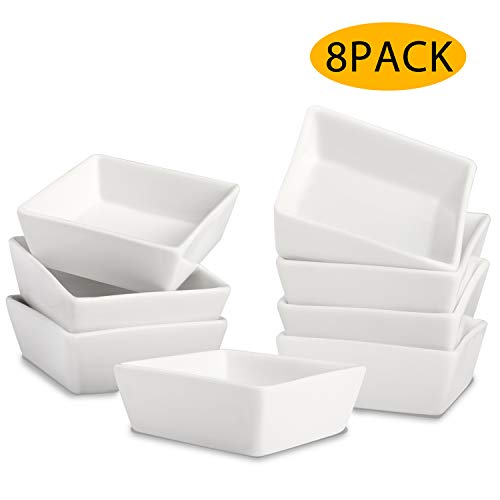Square Ramekin Bowls 8 PCS,6 OZ Bakeware Set for Baking and Cooking, Oven Safe Sleek Porcelain White Ramikins for Pudding, Creme Brulee, Custard Cups and Souffle Small instant table tray