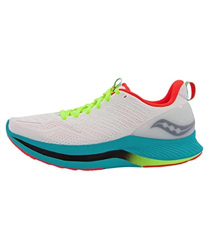 scarpe running hooka Saucony Endorphin Shift 01 Scarpa da Corsa Running Jogging su Strada o Sterrato Leggero con Appoggio Neutro per Uomo Bianco Azzurro 40 EU