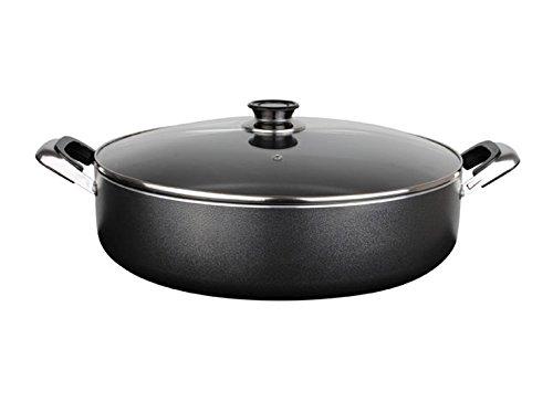 """Low Stock Pot 12"""" Heavy Gauge Non-stick w/Glass Lid Rice Cooker Casserole 6 Quarts"""