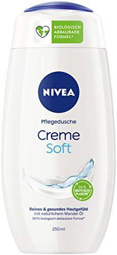 NIVEA Creme Soft Pflegedusche (250 ml), zart duftendes Duschgel mit samtweichem Schaum, seidige Cremedusche mit wertvollem Mandel-Öl