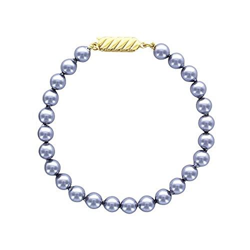 Pulsera de perlas de Majorca de 18 cm, color gris, 6 mm, chapado en oro amarillo 750