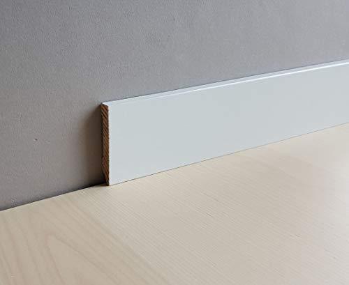 "Fuß- u. Sockelleiste\""Zwickau\"" 60 x 10 mm Massivholz | 321.1060.31 -Kiefer deckend weiß lackiert"