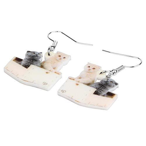ESIVEL Acrílico Navidad Doble Scottish Fold Gatos Pendientes Drop Dangle Animal Jewelry Para Mujeres Niños Novedad Festival Party Gift