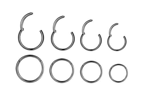 4Pairs 18G Surgical Steel Hinged Clicker Segment Nose Rings Hoop Helix Cartilage Daith Tragus Sleeper Earrings Body Piercing for Women Men Girls 6mm 8mm 10mm 12mm (18G - Black - (6mm-12mm) - 4Pairs)