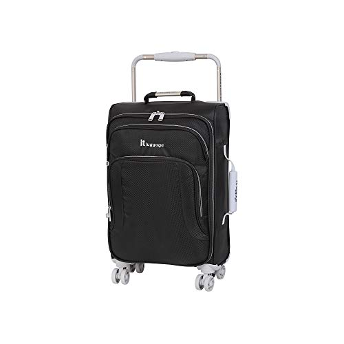 IT Luggage 22' World's Lightest 8 Wheel Spinner, Raven With Vapor Blue Trim