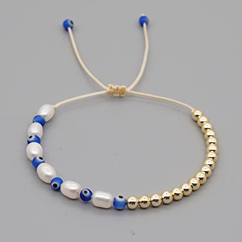 SONGK Pulsera chapada en Oro de Playa de Verano de Perlas Reales para Mujer, joyería Bohemia, Pulseras de Cuentas de Semillas, Regalo de San Valentín