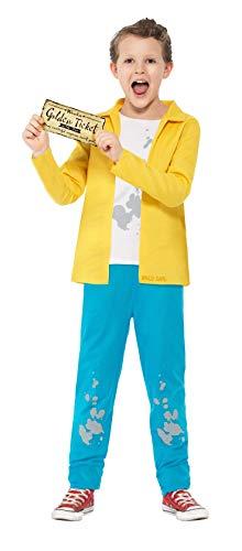 Smiffy's - kinderen jongens Charlie Bucket kostuum, bovendeel, broek en gouden ticket, geel Medium geel