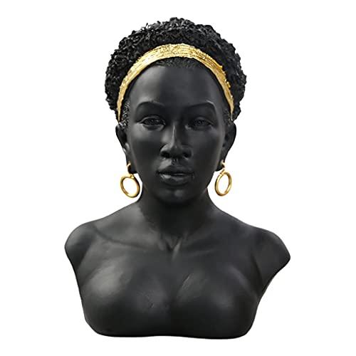 B Blesiya Exquisita Escultura de Busto de Mujer Africana, Resina, Cabeza de Dama, estantería Artesanal, Estatua, Sala de Estar, Dormitorio, Oficina, Estante, Cabello Afro Negro