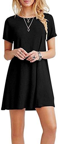 Kleid Damen Sommerkleid Freizeitkleid Shirtkleid T-Shirt Bluse Tunika Kurzarm Leger Langes Locker Kleider