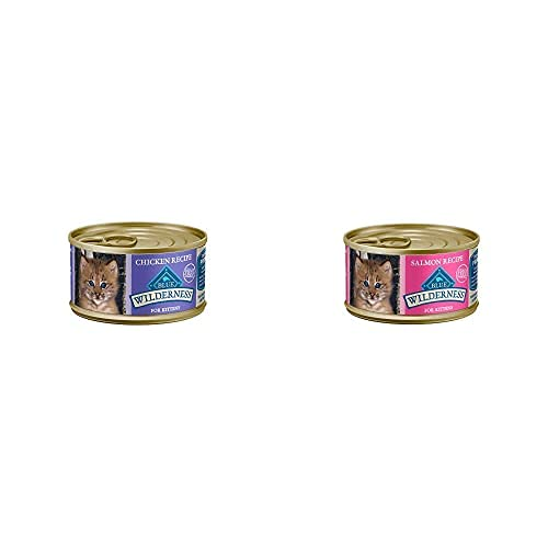 Blue Buffalo Wilderness High Protein Grain Free, Natural Kitten Pate Wet Cat Food, Chicken & Salmon 3-oz cans (48 Count - 24 of Each Flavor)