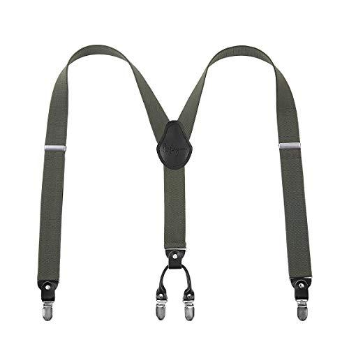 Lafayon Tirantes para hombre Plus Tirantes con espalda en Y para hombres Color de 35 mm con 4 clips fuertes Paquete de regalo de tirantes resistentes