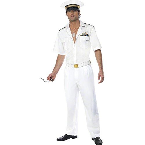 NET TOYS Pilotenkostüm Top Gun weiß M 48/50 Kostüm Fliegerkostüm Pilot Uniform Anzug Outfit Verkleidung
