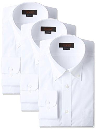 [スティングロード] 長袖 3枚セット ボタンダウン 白ワイシャツ 形態安定 綿高率混 レギュラーフィット MA1113-BD-3 メンズ ホワイト 首回り39cm裄丈82cm