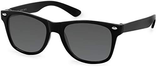 styleBREAKER Kinder Nerd Sonnenbrille mit Kunststoff Rahmen und Polycarbonat Gläsern, klassiches Retro Design 09020056, Farbe:Gestell Schwarz / Glas Grau Volltönung