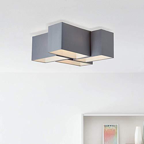 Moderna lámpara de techo textil, 4 bombillas E14, máx. 60 W, de metal/textil, en gris/negro.