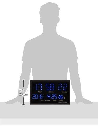 Felio(フェリオ)デジタル壁掛け時計アギラブルーLED表示カレンダー・温度表示ブラックFEW120BK