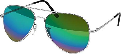 Balinco Hochwertige Pilotenbrille Sonnenbrille 70er Jahre Herren & Damen Sunglasses Fliegerbrille verspiegelt (Silver - Rainbow)
