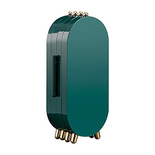 Caja de Almacenamiento de Joyas Aretes Joyería Multicapa Prueba de Polvo Joyero Pulsera Almacenamiento Caja de Joyería Titular de Pendiente (Verde)