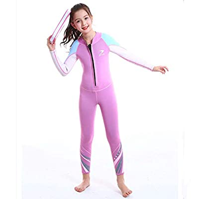 ZCCO Kids Wetsuit,2.5mm Neoprene Thermal Swimsuit Wet Suits for Girls,Youth Girl's One Piece Wet Suits Warmth Long Sleeve Swimsuit for Diving,Swimming,Surfing etc Water Sports (Pink, M)