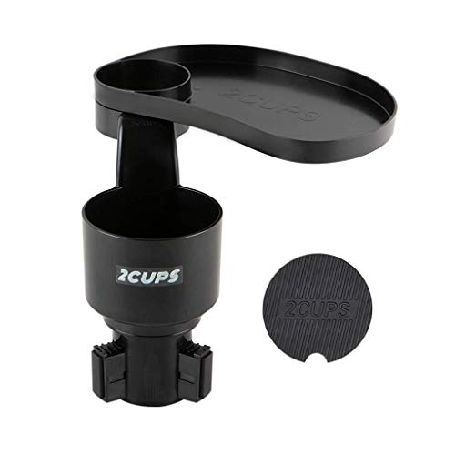 """2CUPS Car Cup Holder Expander and Attachable Tray - Yeti / Hydro Flasks / Nalgenes 16/32/40 oz. - Adjustable Swivel Tray 10"""" - Car Truck Organizer Table"""