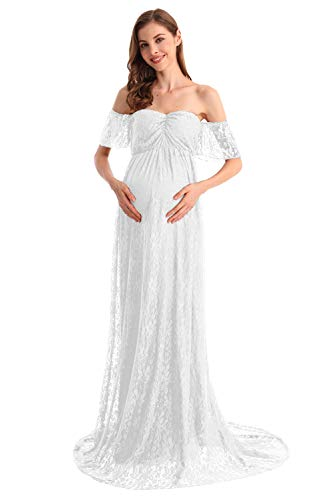 HIHCBF Women Bohemian Lace Maternity Wedding Dress Off-Shoulder Ruffle Sleeves Photo Shoot Baby Shower Pregnancy Gown White S