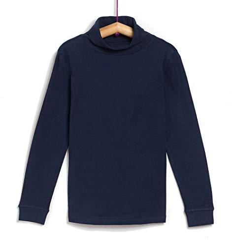 TEX - Camiseta de Algodón para Niño, Manga Larga, Cuello Alto, Azul Marino, 3 a 4 años