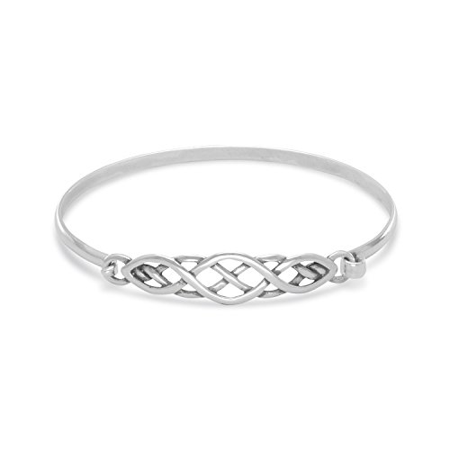 AzureBella Jewelry Celtic Knot Style Sterling Silver Bangle Bracelet Small Size