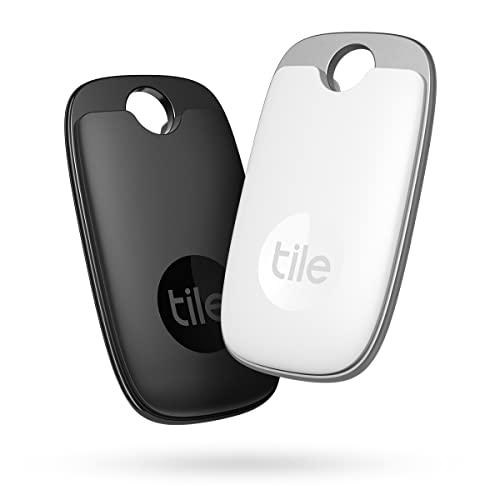 Tile Pro (2022) buscador de Objetos Bluetooth, Pack de 2, Radio búsqueda 120m,batería 1 año,Compatible con Alexa, Google Smart Home, iOS, Android, Busca Llaves, mandos a Distancia y más, Negro/Blanco