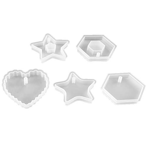 Exceart 5 Stks Siliconen Hars Mouldse Zeshoek Ster Kristal Epoxy Mal Casting Mallen Voor Diy Ambachtelijke Zeep Kaars Sieraden Maken (Wit)