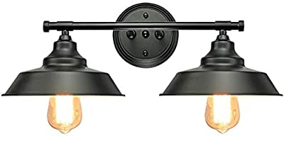 Longwind 2 Lights Wall Light Fixture, Vanity Industrial Wall Sconce for Bathroom