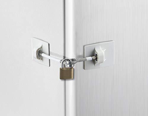 Refrigerator Door Lock with Padlock – White
