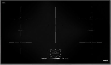 "Smeg SIMU536B 37"" Induction Cooktop with 5 High Light Radiant Element Black Suprema Glass Soft Touch Controls and 1 Variable Burner with 3 Adjustment Levels in 1"