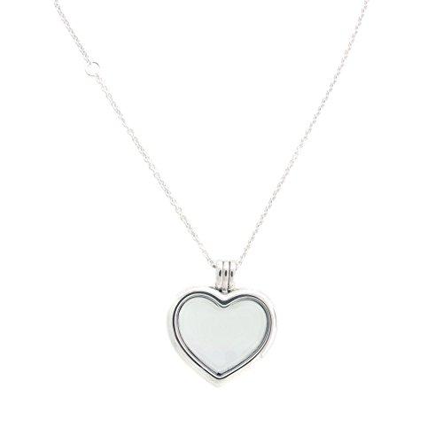 Pandora Damen Halskette Herz Medaillon Silber/Weiß 60cm