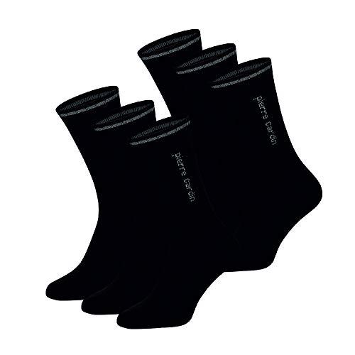Pierre Cardin 6 Paar Basic Sportsocken für Damen und Herren Unisex Tennissocken Crew Socks Socken in schwarz