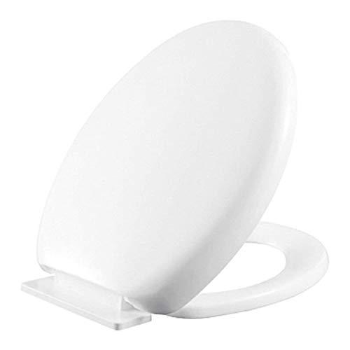 Barrageon Asiento del Baño Universal Tapa WC Asientos de Inodoro Espesar Durable Instalación Fácil Cierre Silencioso Antibacteriano Antienvejecimiento Bisagras Ajustables(Forma de O) Blanco