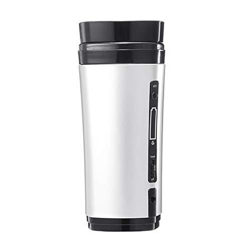 Cuasting USB recargable taza de café botella de calefacción auto agitación taza caliente plata