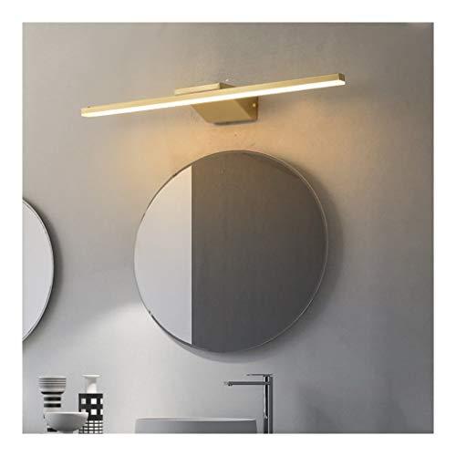 MJJ- Espejo de Baño con Iluminación LED Oro tubo recto simple espejo LED de la luz delantera de estilo europeo de baño WC maquillaje lámpara de pared de dormitorio Armario Lámparas de iluminación 【Niv