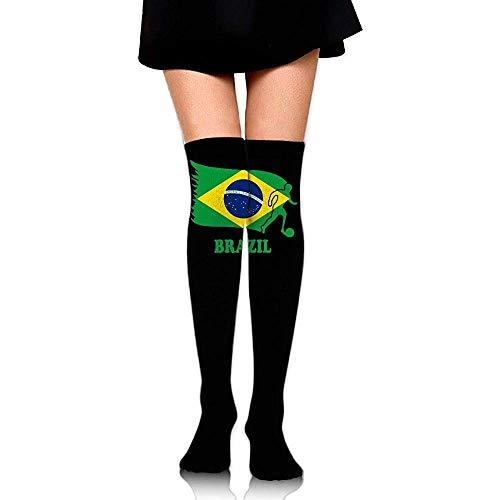 Jesse Tobias Brasil Fútbol Fútbol Bandera Chicas Sexy Sobre la rodilla Muslo Calcetines altos Medias