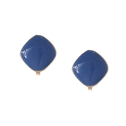Idin Jewellery - Navy Blue Enamel Diamond Shaped Clip On Earrings